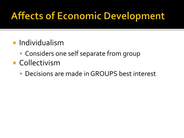 Affects of Economic Development