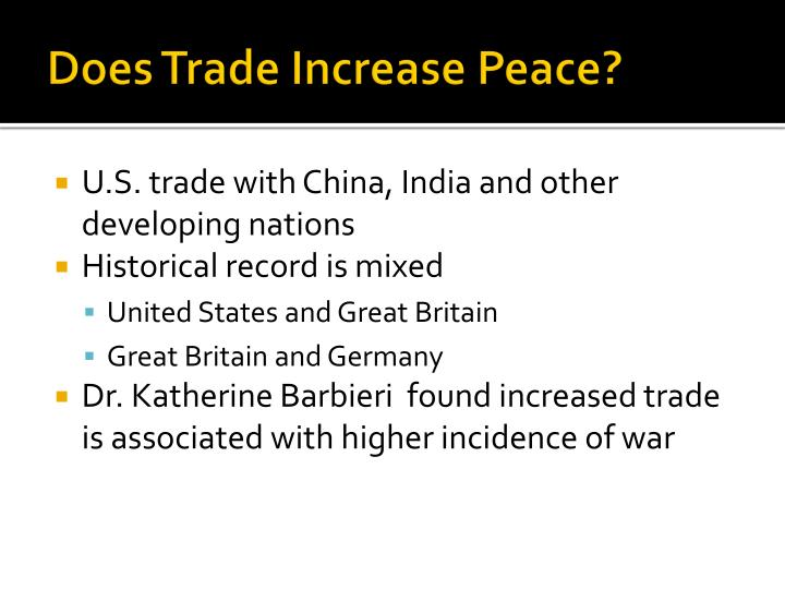Does Trade Increase Peace?