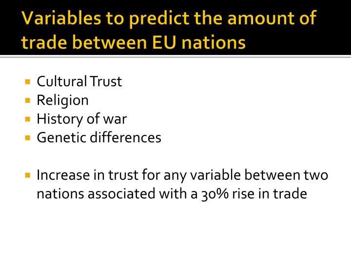 Variables to predict the amount of trade between EU nations