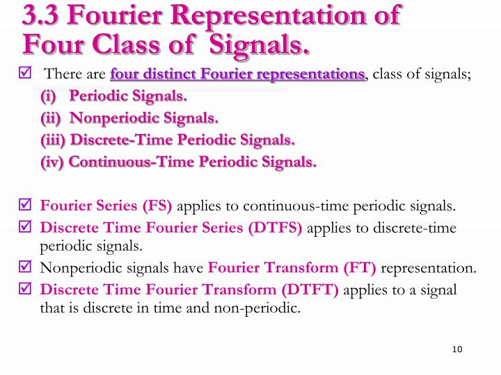 3.3 Fourier Representation of Four Class of  Signals.