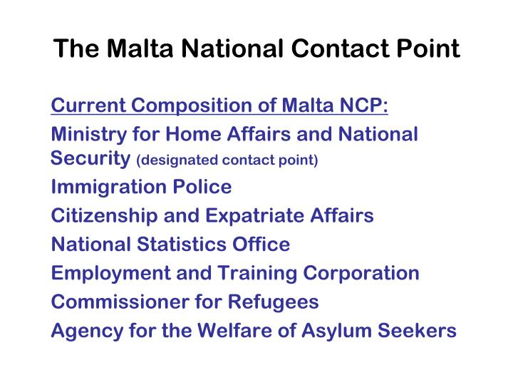 The malta national contact point