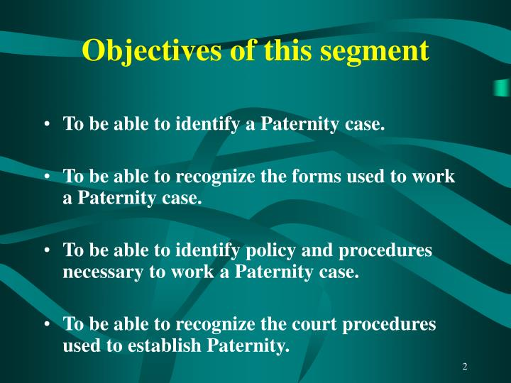 Objectives of this segment