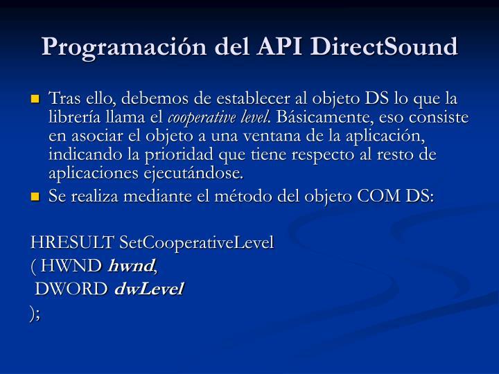 Programación del API DirectSound