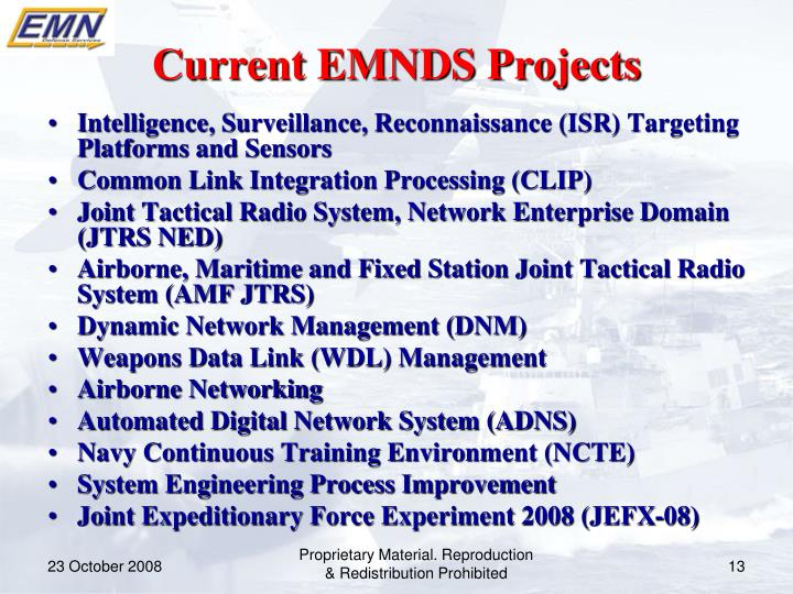 Current EMNDS Projects