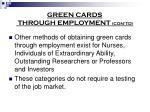 green cards through employment con td