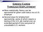 green cards through employment