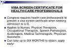 visa screen certificate for health care professionals