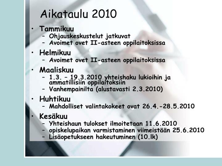Aikataulu 2010