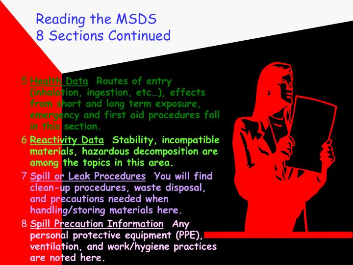 Reading the MSDS