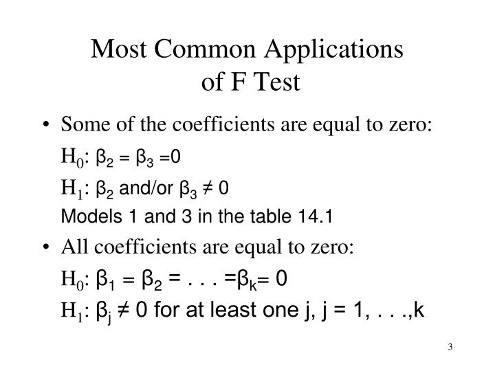 Most common applications of f test