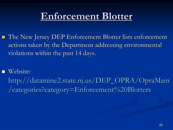 Enforcement Blotter