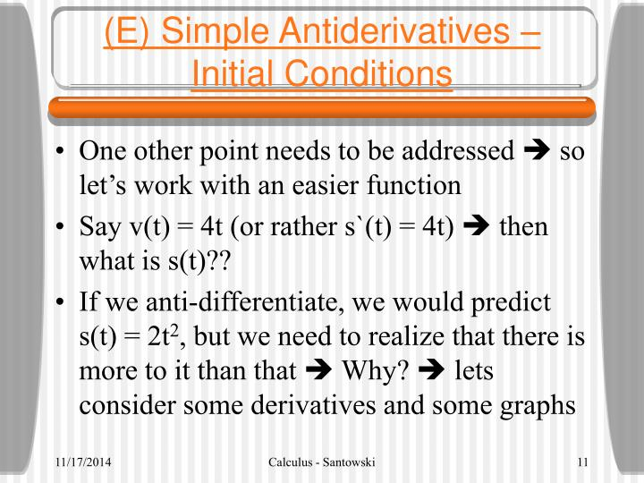 (E) Simple Antiderivatives – Initial Conditions