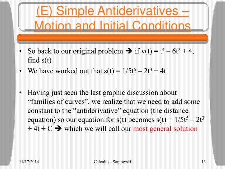 (E) Simple Antiderivatives – Motion and Initial Conditions