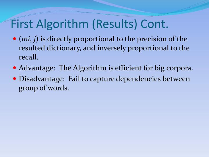 First Algorithm (Results) Cont.