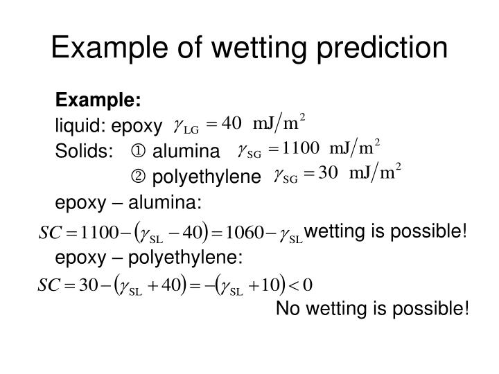 Example of wetting prediction