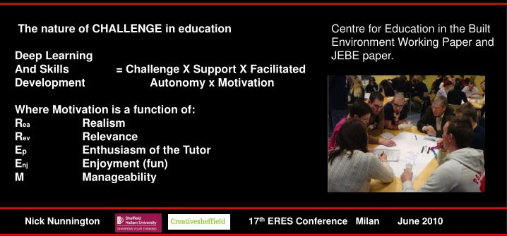 The nature of CHALLENGE in education