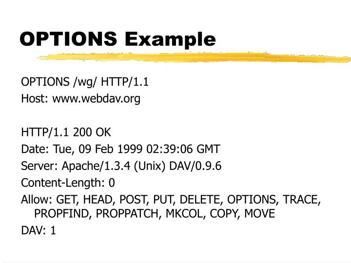 OPTIONS Example