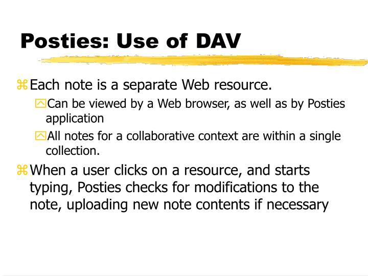Posties: Use of DAV