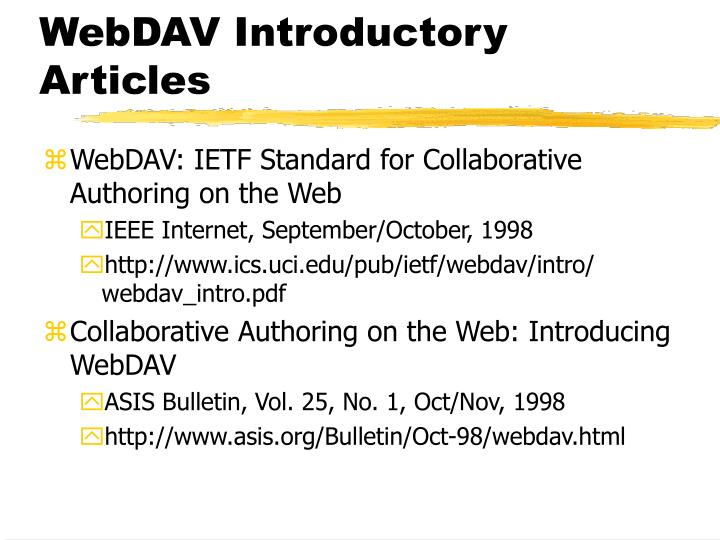 WebDAV Introductory Articles