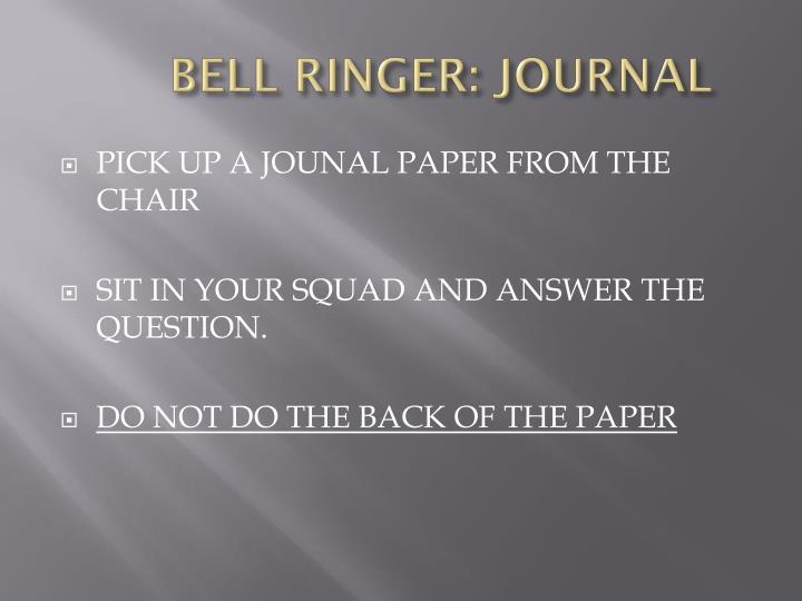 Bell ringer journal