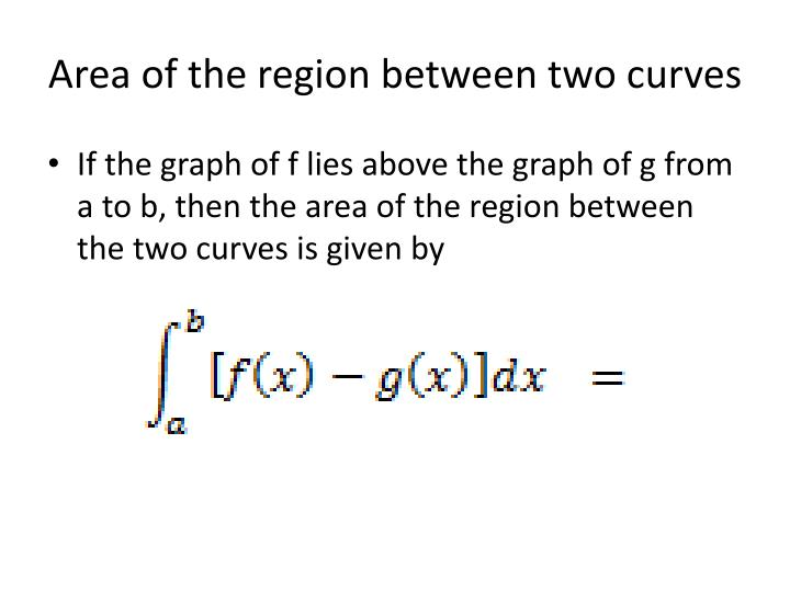 Area of the region between two curves