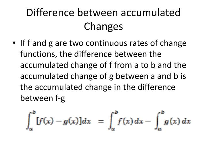 Difference between accumulated Changes