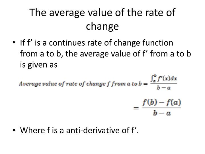 The average value of the rate of change