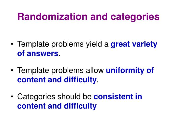 Randomization and categories