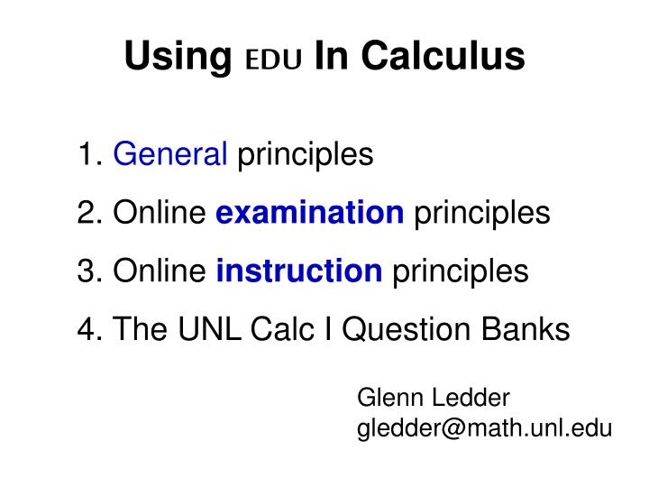 Using edu in calculus