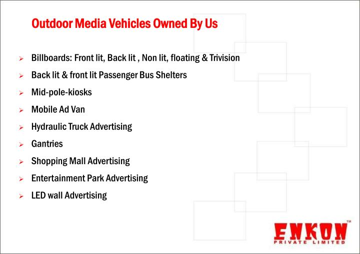 Outdoor media vehicles owned by us