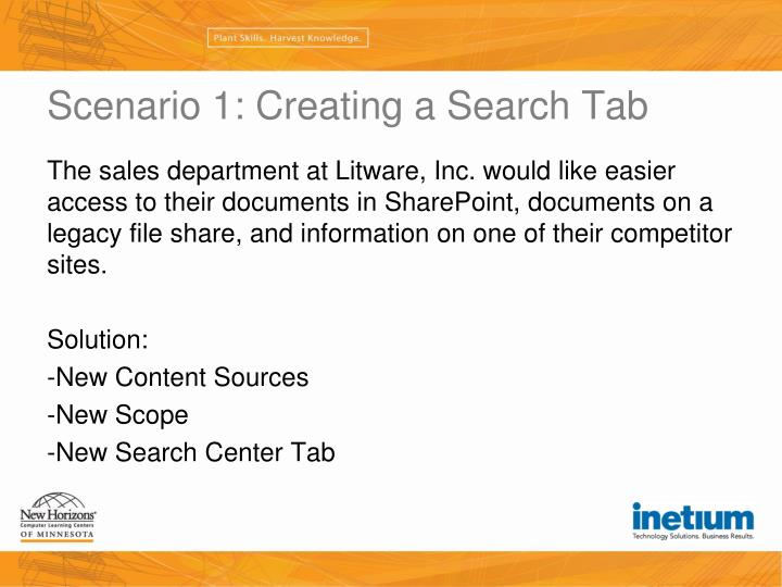 Scenario 1: Creating a Search Tab