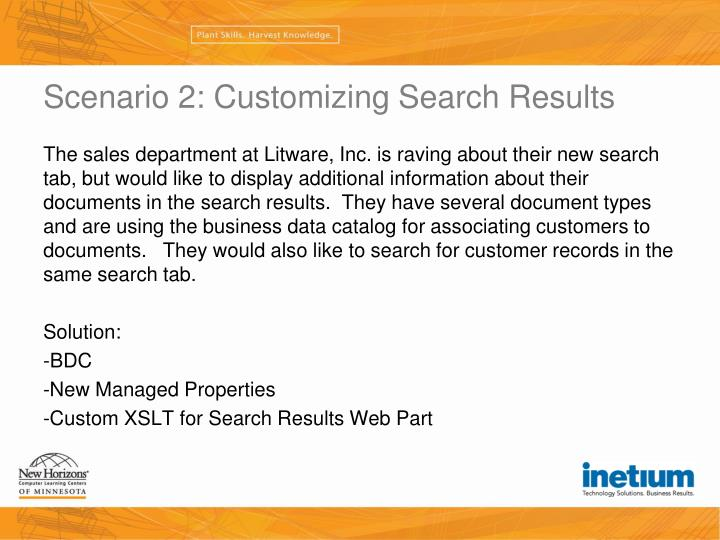 Scenario 2: Customizing Search Results