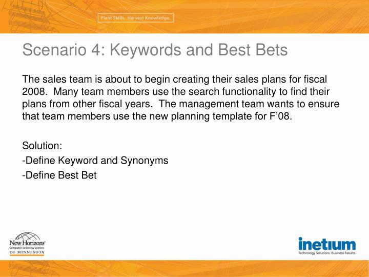 Scenario 4: Keywords and Best Bets