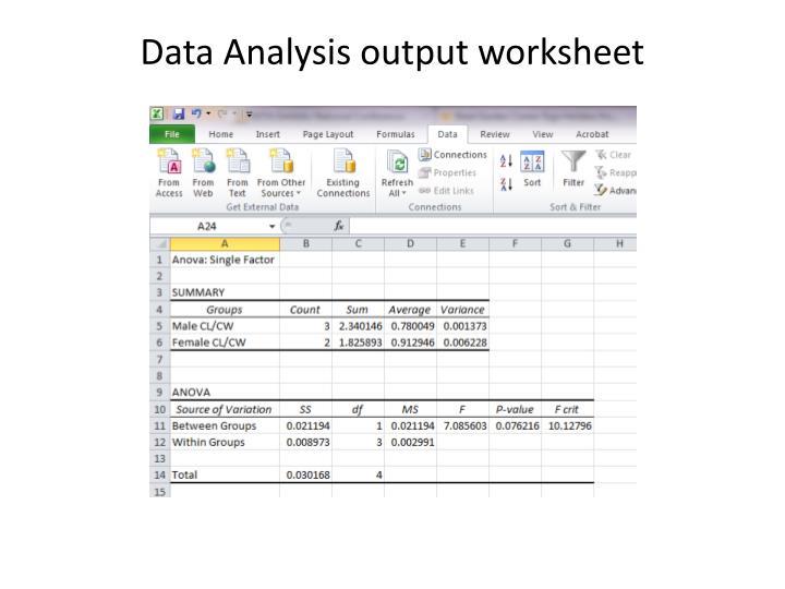 Data Analysis output worksheet