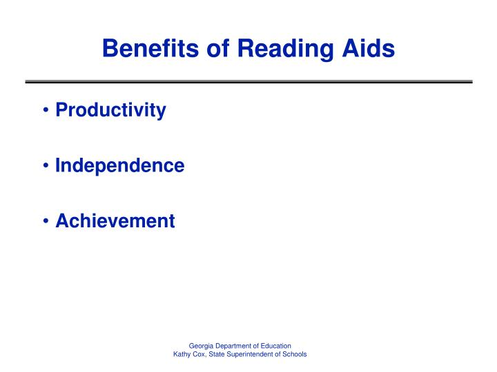 Benefits of Reading Aids