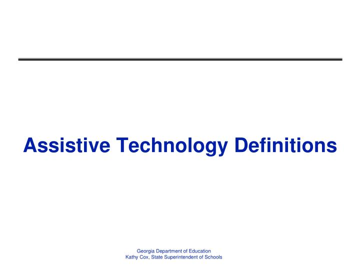 Assistive Technology Definitions