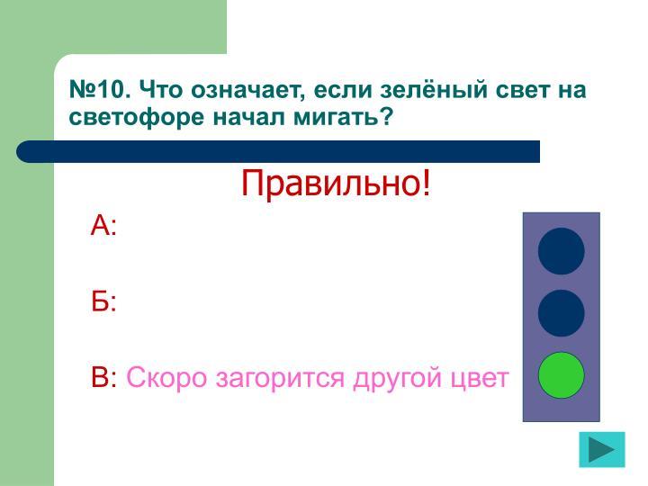 №10. Что означает, если зелёный свет на светофоре начал мигать?