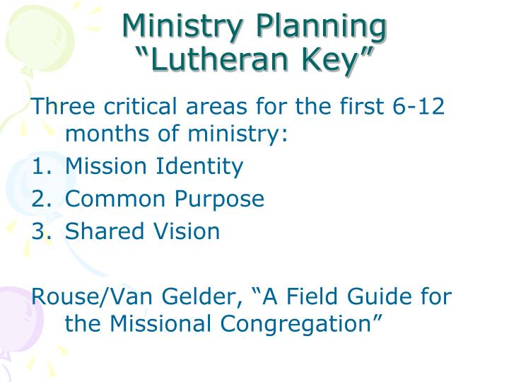 Ministry Planning