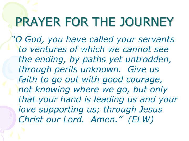 PRAYER FOR THE JOURNEY