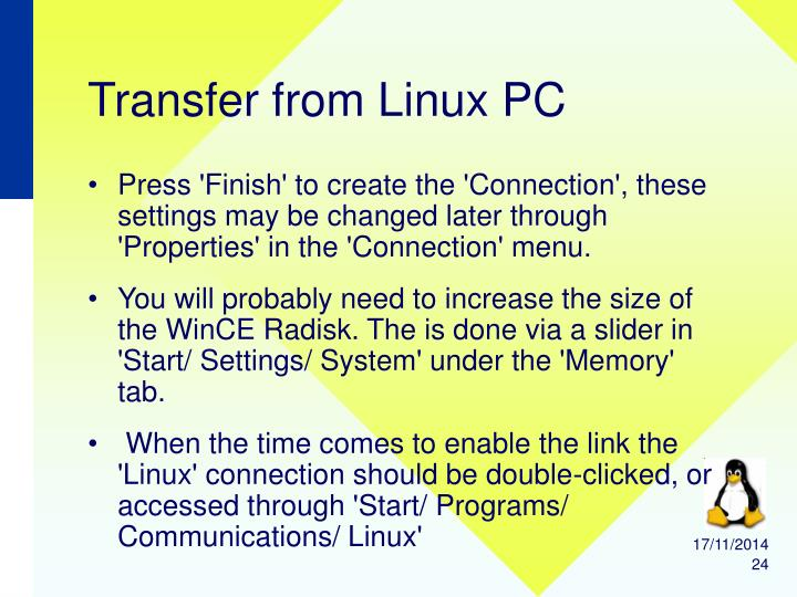Transfer from Linux PC
