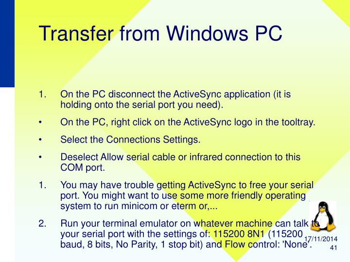 Transfer from Windows PC