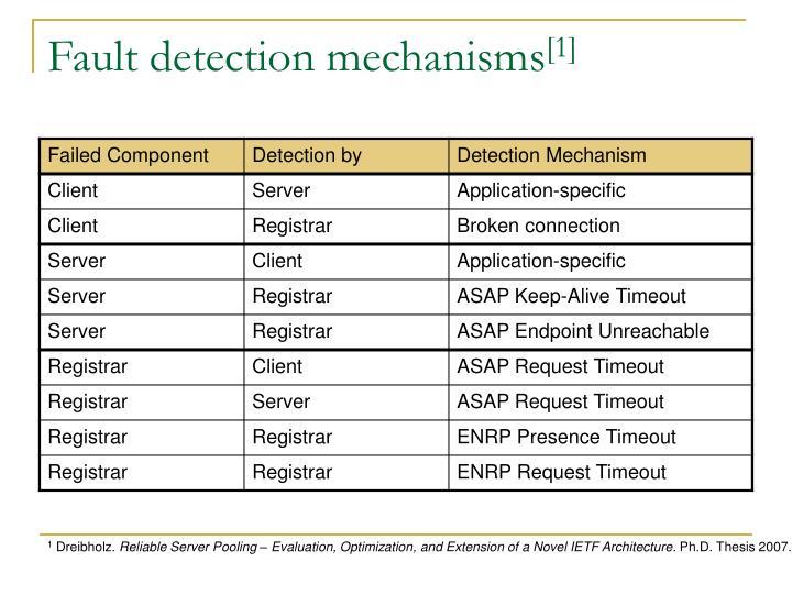Fault detection mechanisms