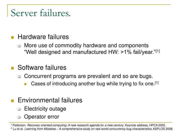 Server failures.