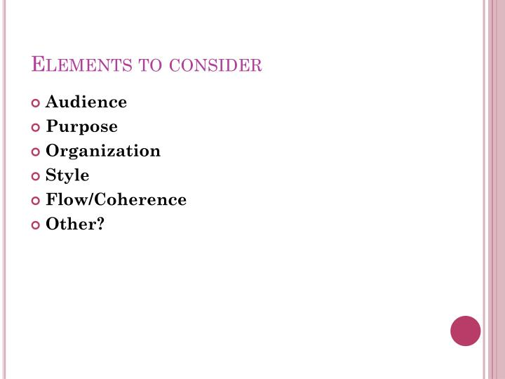 elements to consider n.