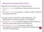 research methods cont d