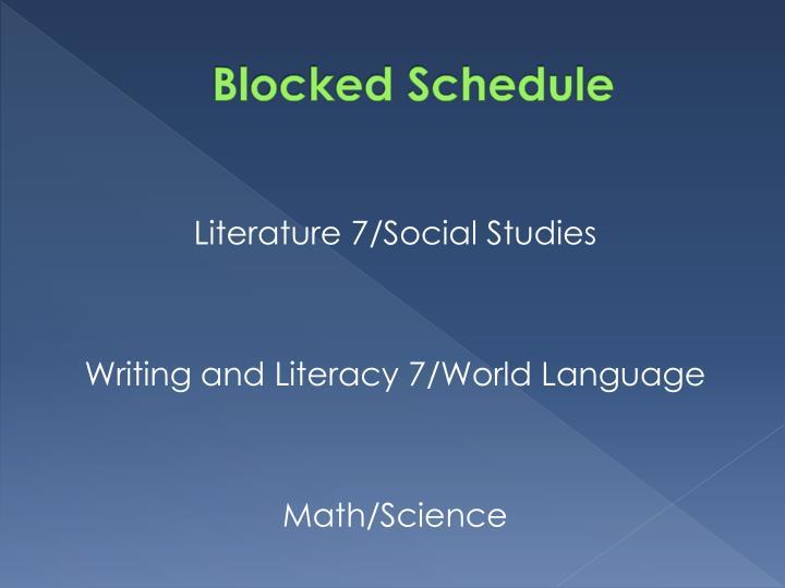 Blocked Schedule
