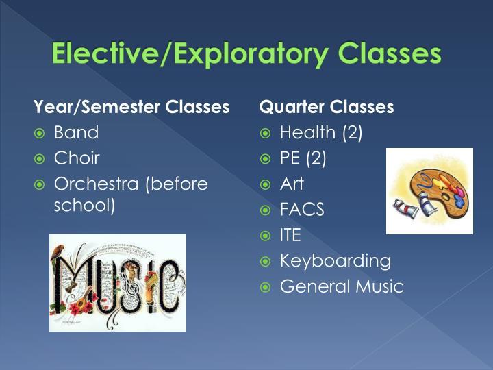 Elective/Exploratory Classes