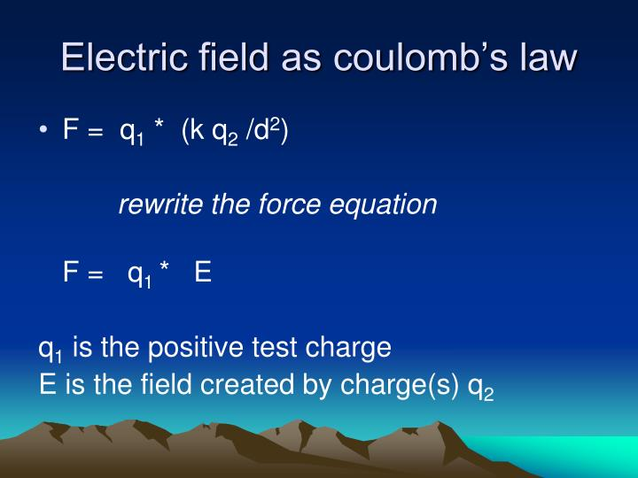 Electric field as coulomb's law