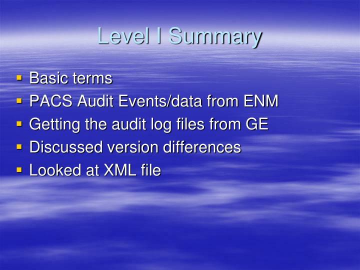 Level I Summary