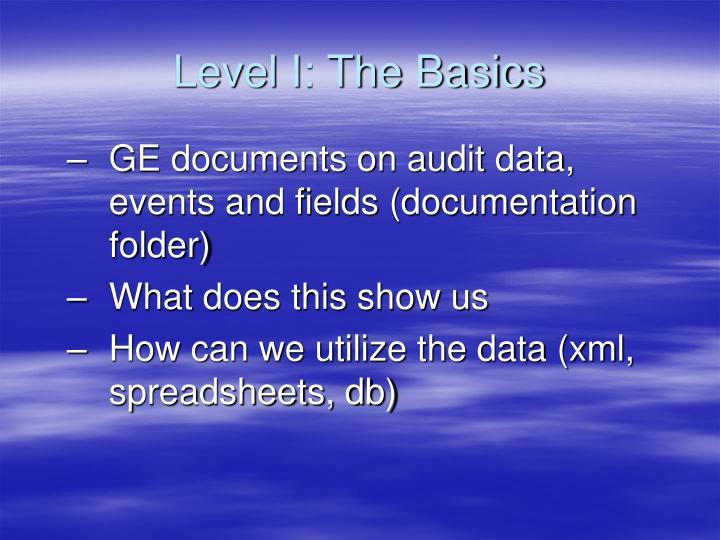 Level I: The Basics